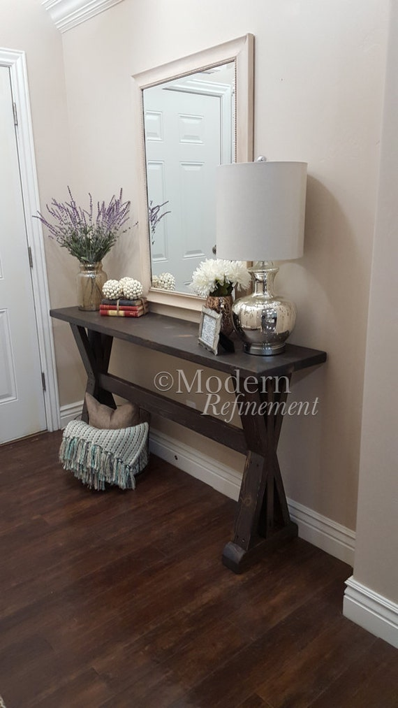 Rustic Foyer Table : Rustic farmhouse entryway table console