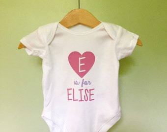 Personalised baby name  - Babygrow, onesie, all in one, bodysuit eg. A is for Amelie