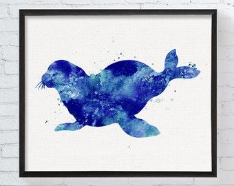 Seal Art - Seal Print - Watercolor Seal - Seal Painting - Sea Life Prints - Coastal Wall Decor, Nautical Decor, Nursery Wall Art, Sea Animal