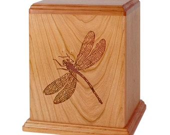 Natural Cherry Dragonfly Wood Cremation Urn