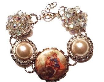 Earring Bracelet Fragonard Brooch Aurora Borealis Reclaimed Vintage Romantic