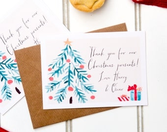 personalised christmas thank you cards - thank you for my present cards - christmas card - thank you cards