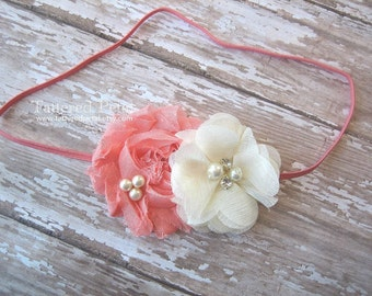 Coral headband, coral and ivory, ivory and coral headband, Easter headband, newborn headband, flower girl headband, coral baby headband