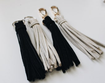 Suede Leather Tassel Keychain