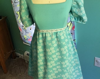 1960s Babydoll Dress with Empire Waist Robins Egg Blue Floral Flowers