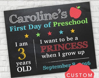Personalized First Day of School Sign, Personalized School Photo Sign, First Day of Preschool, Custom First Day of School Sign
