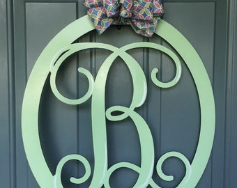 Monogram Initial Oval, Single Letter Oval Monogram Door Hanger, Wooden Monogram Vine, Shabby Chic Door Hanger