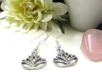 Small Silver Lotus Earrings, Small Earrings, Silver Earrings, Simple Earrings, Small Gift, Gift for Her, Boho Earrings,Lotus Flower Earrings