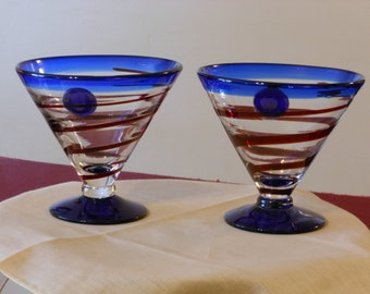 A Pair of Blue & Red Striped Dessert Cups