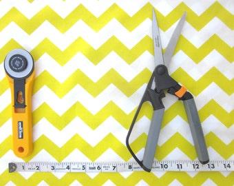Yellow and White Chevron Fabric, 1 yard