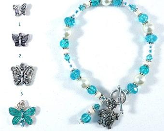 Charm Bracelet- Blue Bracelet - Butterfly Bracelet - Turtle Bracelet - Xmas Bracelet - Anniversary Bracelet - E125 BC