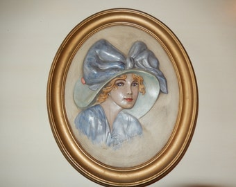 CERAMIC PORTRAITURE of Erma Gillilard Duncan 1910
