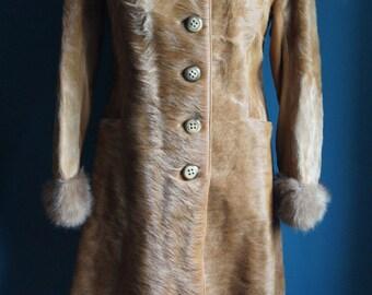 Calf Fur Leather Coat Size S