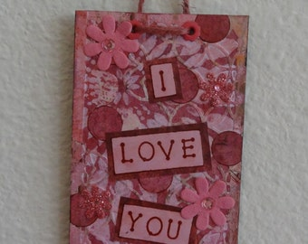 Love You More Wall Art Home Decor Gift Mixed Media Collage Original Art Inspirational Love Valentine's Day Love You More