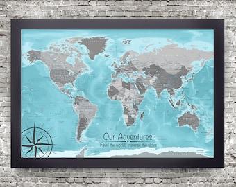 The Aviator World Map, Blue & Grey World Map, Customized Map