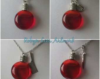 Fake Blood Glass Bottle Necklace with Vampire Teeth, Butcher's Knife, Bloody Sword on Silver Chain. Hind's Blood, Deer, Halloween Horror