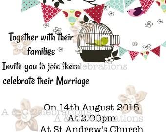 Bunting and birdcage wedding invitations