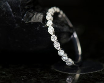 Pear and Bubble Diamond Wedding Band in White Gold, Pear and Bubble Design with Beaded Milgrain, 2mm, 1/2 Eternity, Petite Lucy
