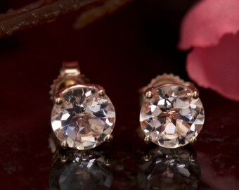 Morganite Earrings, Solitaire Stud Earrings, 1.00ct Each/2.00ctw, Round Brilliant Cut Morganite, 4-Prong Studs, Friction Back, Emily Kate