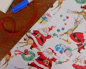 Vintage Illustrated Santa & Reindeer Gift Wrap Roll With Presents Candy Canes Ornaments