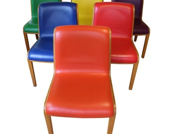 Mid Century Modern Bill Stephens for Knoll Leather Dining Side Chairs Set of 6
