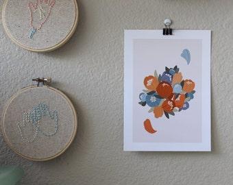 Floral Print//Digital Illustration//Blues and Oranges