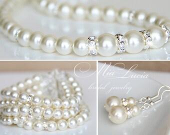 Bridal Jewellery Set, Pearl Wedding Jewellery Set, Bridal Jewelry set, Pearl Wedding Jewelry set, Wedding ceremony set, art. e39-b11-n02