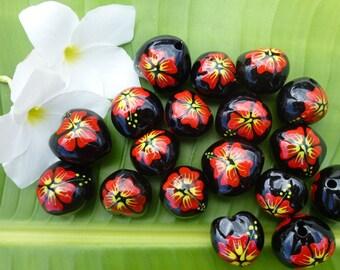 Loose Kukui Nuts - Black with Hibiscus or Honu - 50 nuts per order