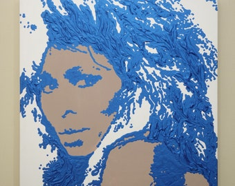 Tina Turner Painting (24x24) Pop Art, Blue Painting