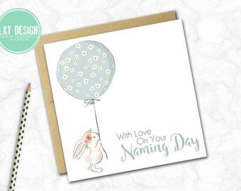 Naming Day Card {Blue Balloon Bunny}