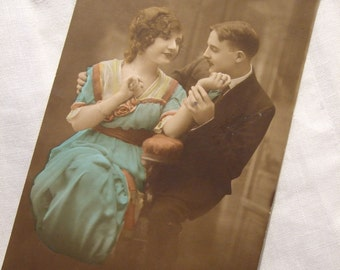 Edwardian RP photo POSTCARD  - 1917 Used Romantic Couple, Wartime, WWI