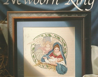 Leisure Arts Counted Cross Stitch Patter The Newborn King by Carol Emmer 1992 Religious Christmas Decor