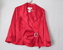 Asymmetrical 80s Sexy Cleavage Blouse Red Satin Blouse Womans sz 12 blouse Evening Wear J.R. Nites by Caliendo Red Satin Blouse Rhinestone