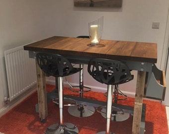 Handmade Rustic Industrial Breakfast Bar