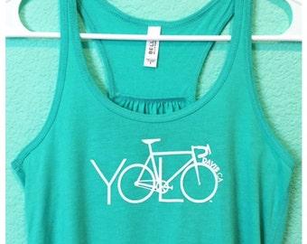 YOLO Bike Tank Top - Yolo, Cycling Tshirt, cycling gift, bike tank, UC Davis, gift for cyclist