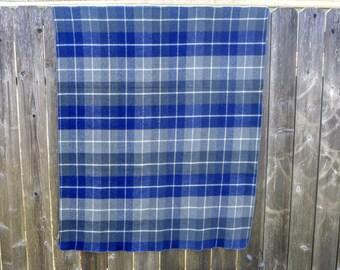 Blue Plaid Wool Throw
