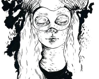 Horns - original ink drawing