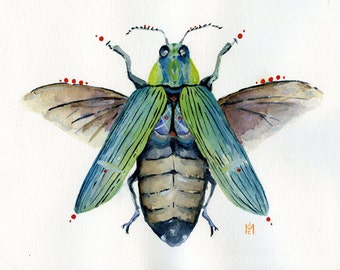 The Jewel Beetle- Original Watercolor Painting
