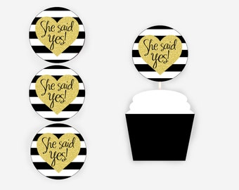 Cupcake Toppers Printable, She Said Yes! Cupcake Toppers, Black and Faux Gold Glitter Bridal Shower Decorations, Item 701