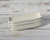 Reserved Pflatzgraff Corn Boats Vintage Pottery Mid Century Kitchen White