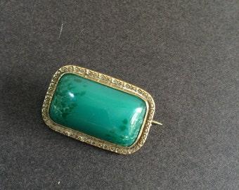 Vintage green glass brooch