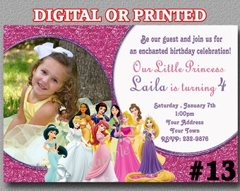 Disney Princess Invitations YOU Print Digital File or PRINTED Birthday Party Invitations with Photo Princess Birthday invitation