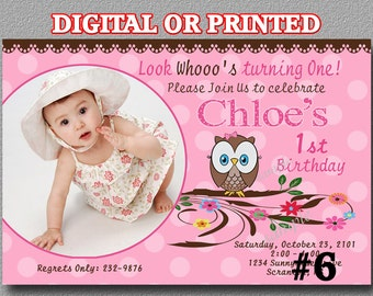 Owl Birthday Party Invitation YOU Print Digital File or PRINTED Photo Birthday Party Invitation