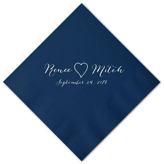 100 personalized napkins wedding napkins custom monogram printed napkins bombshell beverage