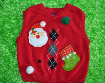 6 kids Ugly Christmas Sweater vest, kids, boy, Snowman, elf stocking