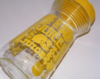 Vintage Yellow Juice Container, Yellow Juice Jar, Vintage Juice Jug, Lemonade Canister, Summer Vintage Camper, Mid Century Yellow Kitchen