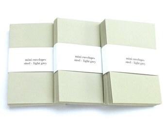 100 Mini Pale Grey Favour Envelopes - Wedding Bridal Baby Shower Gift Tag Envelopes - Luxury Small Envelopes - Tiny Envelopes
