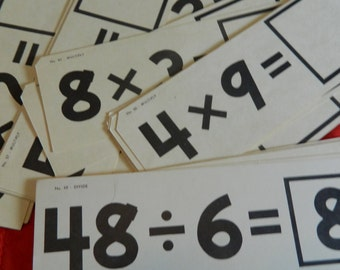 Large Vintage Flashcards Ideal Brand 1963 Math Cards Great for Crafts.