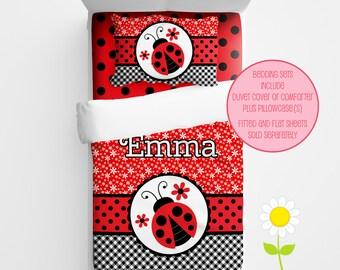 Personalized Ladybug Bedding for Kids - Red Ladybug Duvet or Comforter - Personalized Duvet Set for Girls - Custom Kids' Comforter