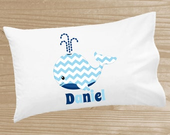 Personalized Kids' Pillowcase - Blue Whale Pillowcase for Boys - Blue Whale Pillow Case - Custom Whale Pillow Slip - Whale Pillow Cover